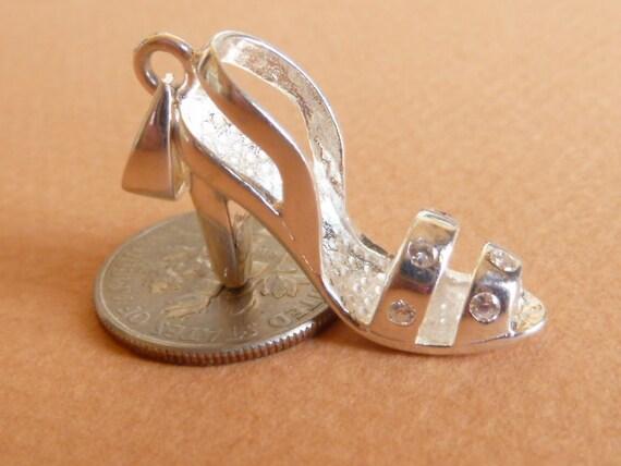 Vintage Charm  Sterling Silver  Heeled Shoe  Pendant Bracelet charm
