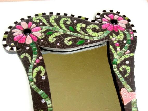 SALE Funky Floral Decorative Mosaic Mirror
