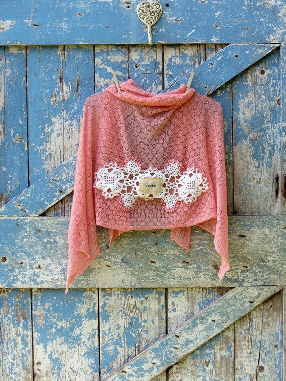 RESERVED for Linda-Holding onto Hope Romantic Wrap/ upcycled vintage shawl/ eco friendly coral wrap
