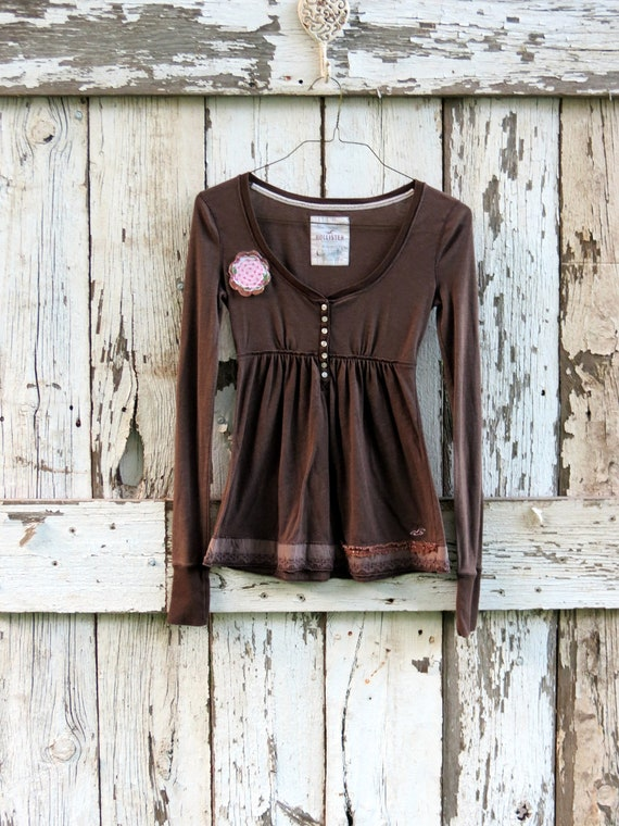 Beautiful Blossom on Brown Babydoll Top/ upcycled brown shirt/ eco friendly boho top