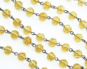"18"" of 8mm Citrine Czech Glass Beaded Chain"