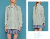 Vintage 70s Pastel Green Checkered Button-Up