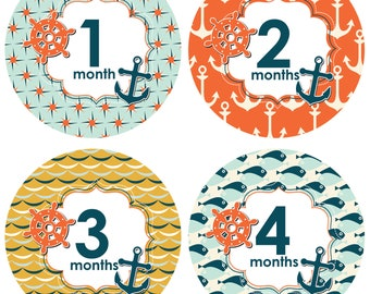 Baby Monthly Sticker Boy, Month by Month Bodysuit Baby Stickers - Nautical Design - Months 1-12