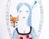 Portrait Face Woman Fox Flowers Original Drawing Watercolor Painting Ink Pen Art Grey Blue Pink Brown Turquoise