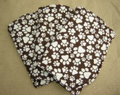 Three (3) Flannel Burp Cloths - Brown with White/Cream Paw Prints - Dogs -  Quilted and Contoured - Baby Shower Gift