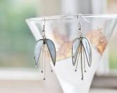 Opalescent Floral Earrings - Mother-of-Pearl Inlay Earrings - Vintage Earrings