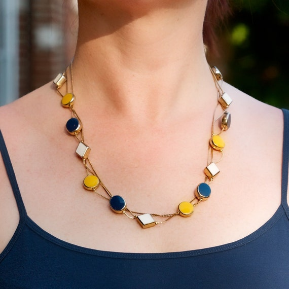 Vintage Three Strand Necklace with Yellow, Blue and White Ceramic Details