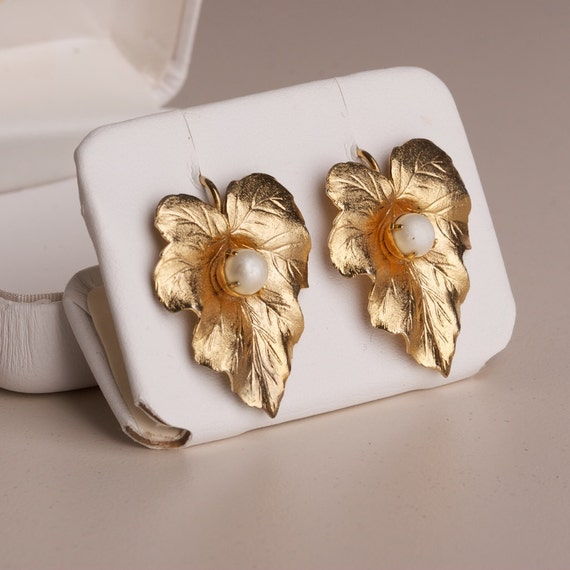 RESERVED Vintage Sarah Coventry Gold Tone Leaf Earrings with Faux pearl Accent