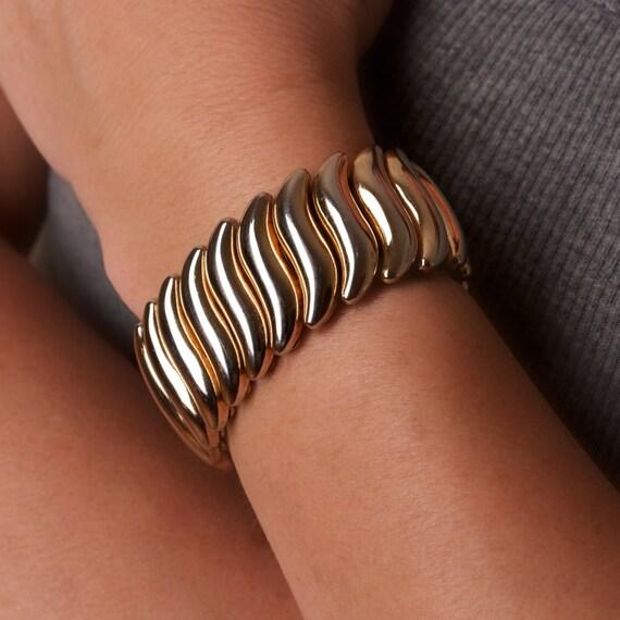 Vintage Bergere Gold Tone Stretch Bracelet