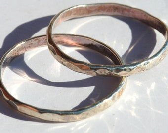 Hammered Stacking Sterling Silver Rings