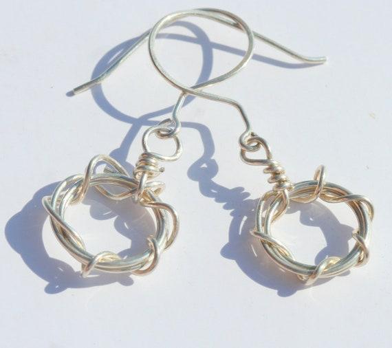 Sterling Silver Woven Circle Dangle Earrings