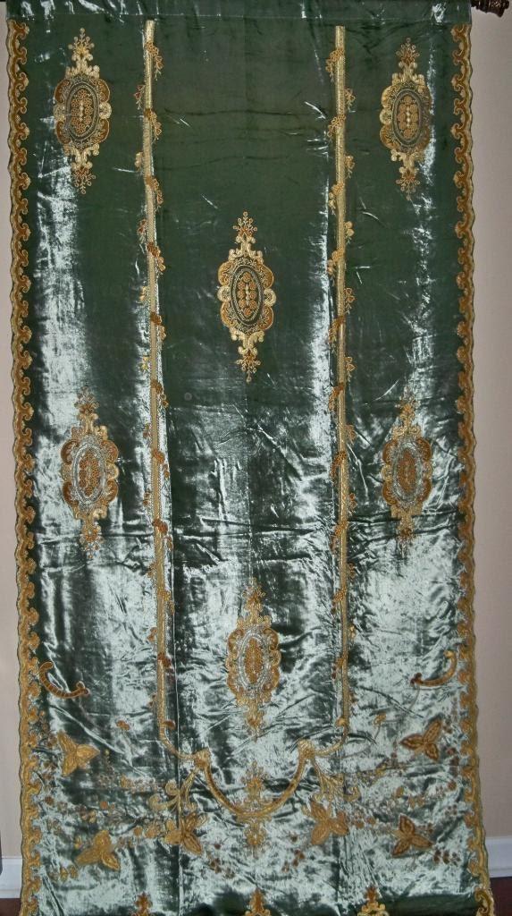 Stunning carlota embroidered silk velvet fabric drapery panel