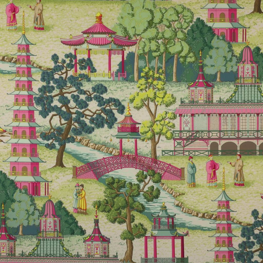 MANUEL CANOVAS Pagoda Asian CHINOISERIE Toile by
