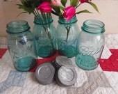 4 Vintage Aqua Blue Quart Sized Ball Perfect Mason Jars with Zinc Lids