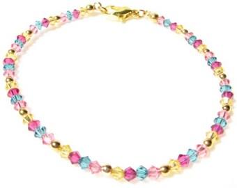 Dainty Swarovski Crystal Bracelet in Bubblegum Colors