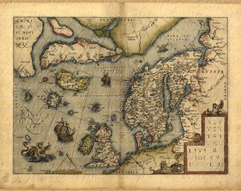 Map of Scandinavia And United Kingdom From 1500s 011 England Ancient Old World Cartography United Kingdom Viking Digital Image Download