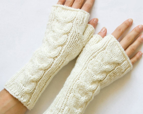 Long Cabled Fingerless Mittens, Knit Fingerless Gloves, Cream, Arm Warmers, Wrist Warmers
