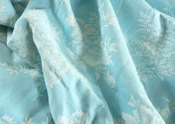 Vintage FRENCH TICKING DAMASK  Fabric, Bleu Turquoise, with damask flower pattern in White, cotton.