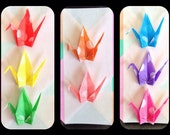 Polka Dot Vellum Mini Origami Crane Stickers, Rainbow Mix set of 16 - OS18