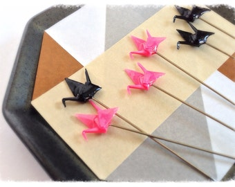 Pink and Black Decorative Pin Toppers for Pincushions and Scrapbooking, Set of 6 - PT29