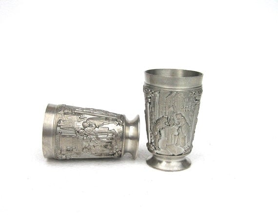 German made shot glass glasses made of zinc set of two couple