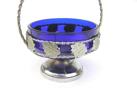 Items Similar To Cobalt Blue Sugar Jar Bowl Vintage Retro Home Decor Kitchen Table Silver
