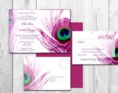 Peacock Wedding invitations - Elegant peacock feather wedding invitation template {Pittsburgh design}