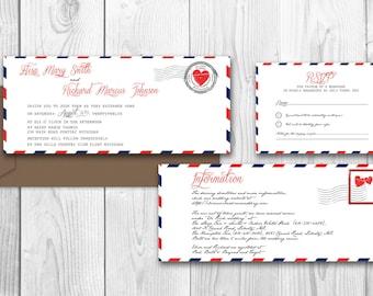 AIRMAIL PRINTABLE WEDDING Invitations birthday invitation - Amarillo Suite