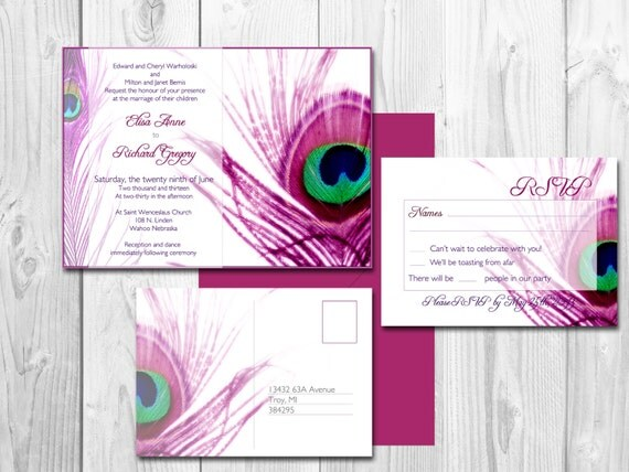 Peacock Wedding Invitations Template: Peacock Wedding Invitations Elegant Peacock By