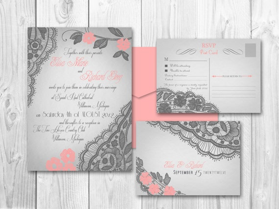 Printable vintage wedding invitations by designedwithamore on etsy