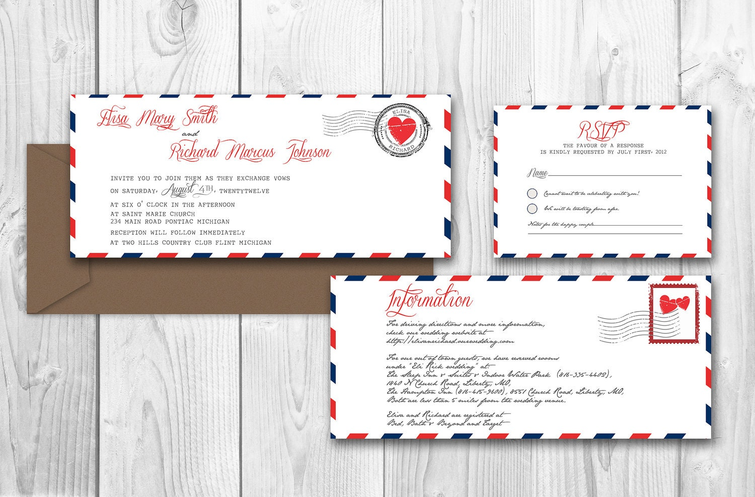 Airmail Wedding Invitations: AIRMAIL PRINTABLE WEDDING Invitations By DesignedWithAmore