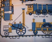 Antique trains, Cornwall 1858 flying scotsman 1922, Tablecloth adorned by trains.
