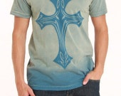 Stencil men's v-neck t-shirt with Cross graphic