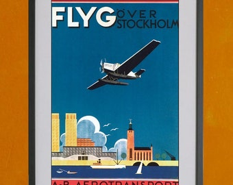 FLYG Over Stockholm, Retro Airline Poster - 8.5x11 Poster Print - also available in 13x19 - see listing details