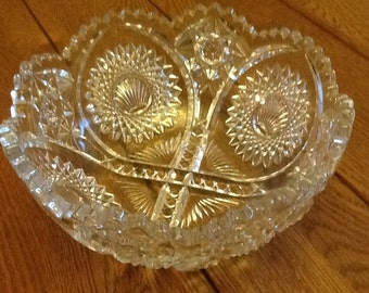Vintage Cut glass bowl, scallop,sea shell, crystal, depression glass