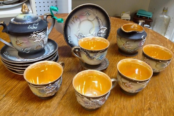 1940s Gorgeous Dragonware Tea Set / Service- Made in Japan, Handpainted Luster / Lustre