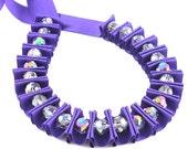 Ribbon jewellery, Purple ribbon pleated necklace