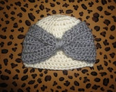 CLEARANCE - Baby Bow Crochet Hat - Gray and Cream - Newborn