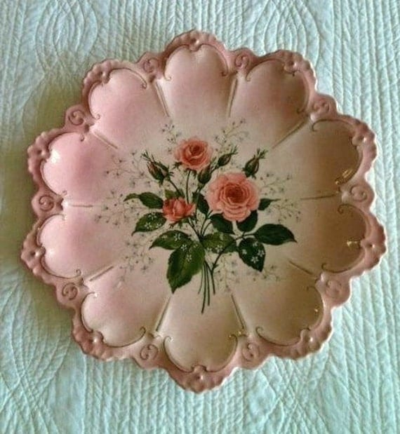 Vintage Shabby Chic Heirloom Roses Filigree Serving Dish, Romantic Home - Olives and Doves
