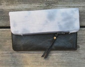 hand-dyed cotton and leather clutch, fold-over clutch, storm clouds