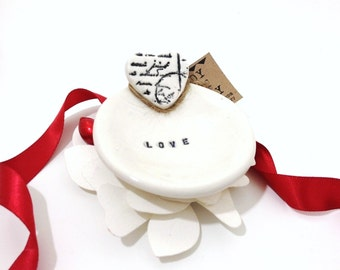 Love Letter Ring Holder Dish Porcelain Black and White MADE TO ORDER