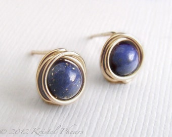Tiny Lapis stud earrings - 14k Gold-Filled wire wrapped studs ear posts September Birthstone gift cobalt royal blue yellow rose gold