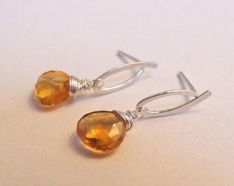 Citrine Earrings - Dangle drop Eco-Friendly Gift original design orange November Birthstone interchangeable post bail