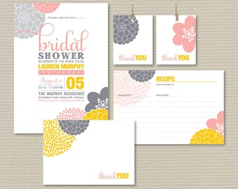 Printable Bridal Shower Invitation Party Pack - Modern flower design, yellow pink & grey (PP03)