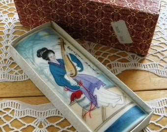 Vintage Chinese Geisha Porcelain PaperWeight Block Hand Painted