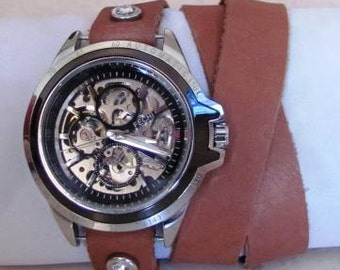 Automatic Mechanical Skeleton Watch Free shipping
