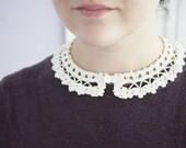 Detachable collar lace crochet - Violets - Peter pan collar - 1915 reproduction - Off white cotton