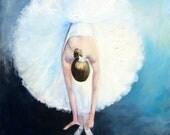 Original Oil Ballerina Painting (8 x 8 x 3/4 inch) Blue/ Black/ White/ Dancer Ballet Shoes/ Titled Dandelion by Tina Petersen