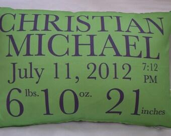 Birth Announcement Pillow baby gift birthday baby shower new baby baby girl baby boy baby pillow custom pillow