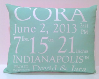 Birth Announcement Pillow baby gift birthday baby shower new baby baby girl baby boy baby chevron pillow custom pillow baby name mint coral